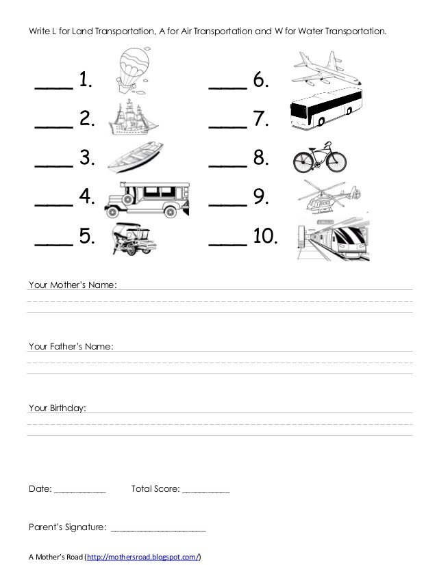 Kinder Test Reviewer (K to 12) March