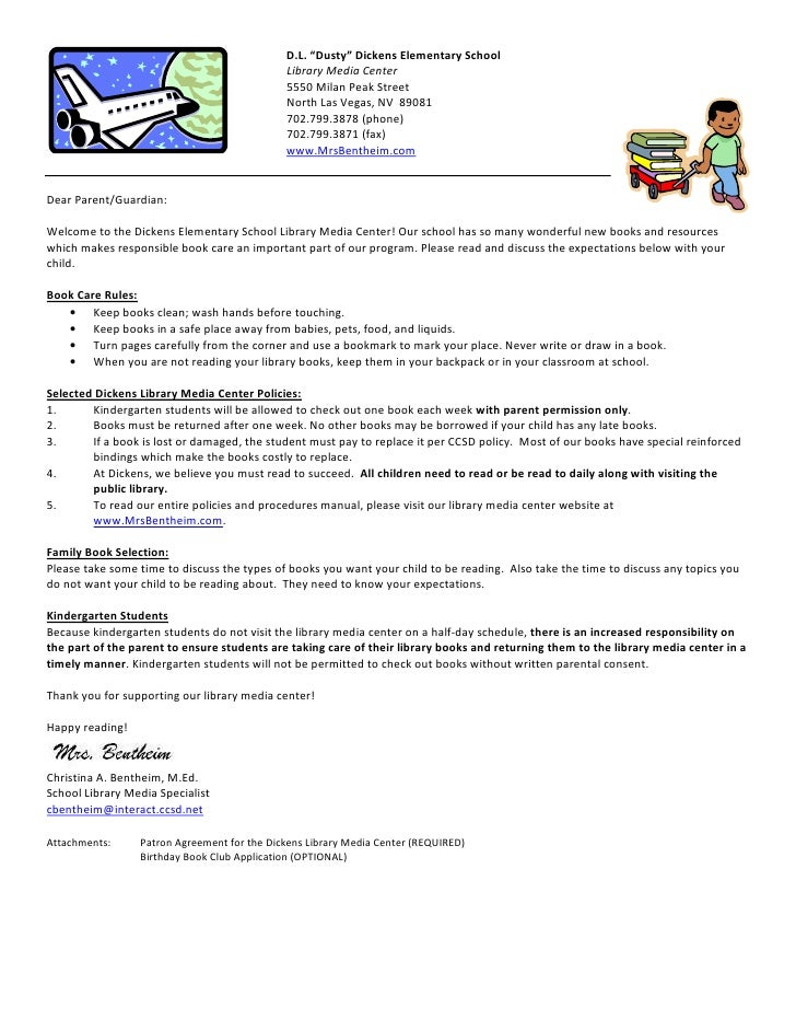 Kinder Book Check Out Letter