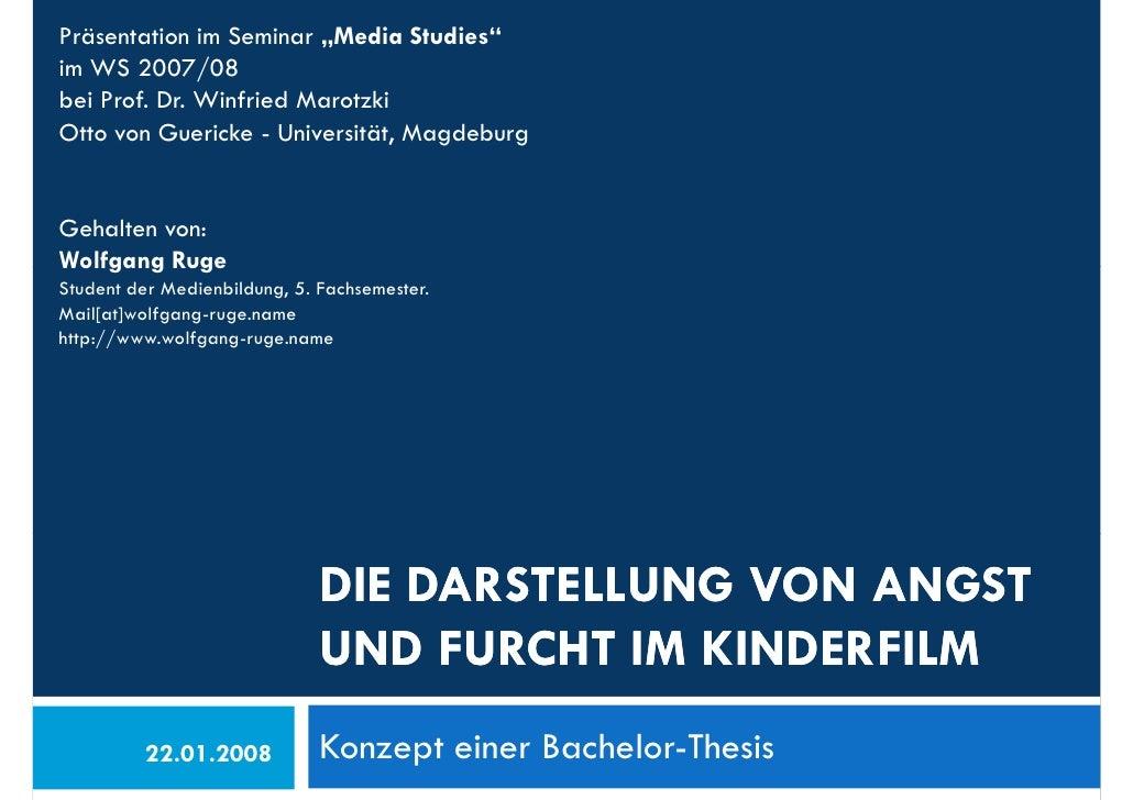 """Präsentation im Seminar """"Media Studies"""" im WS 2007/08 bei Prof. Dr. Winfried Marotzki Otto von Guericke - Universität, Mag..."""