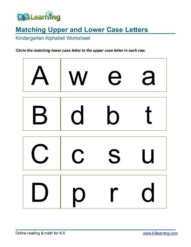 Matching Upper and Lower Case LettersKindergarten Alphabet ...