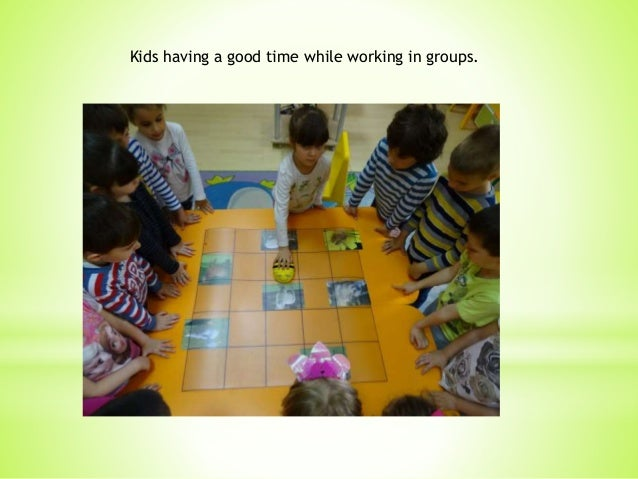 Kids having a good time while working in groups.