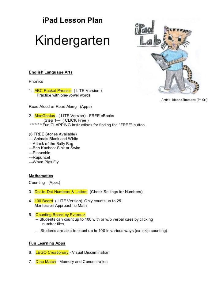 Kindergarten iPad Lesson Plan