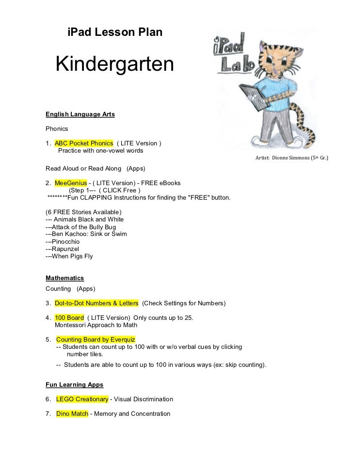 Kindergarten Ipad Lesson Plan