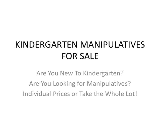 KINDERGARTEN MANIPULATIVES FOR SALE Are You New To Kindergarten? Are You Looking for Manipulatives? Individual Prices or T...