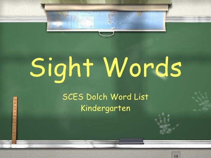 Sight Words SCES Dolch Word List Kindergarten