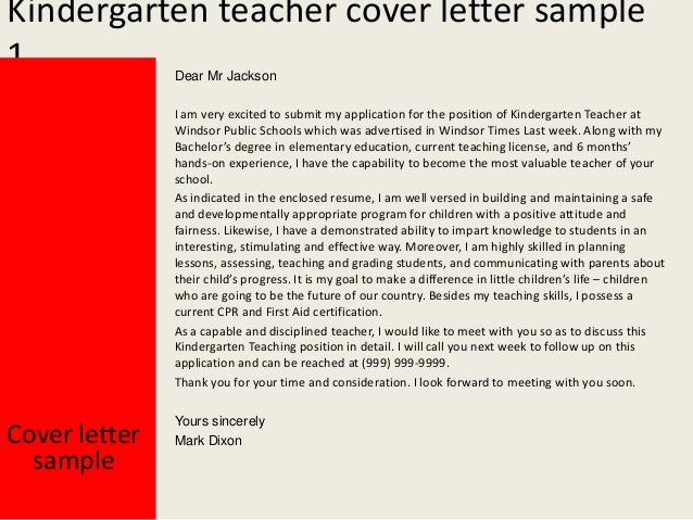 2 kindergarten teacher cover letter sample