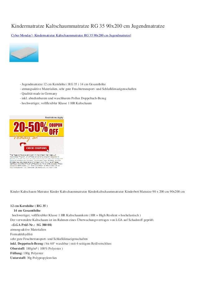 Kindermatratze Kaltschaummatratze RG 35 90x200 cm JugendmatratzeCyber Monday!- Kindermatratze Kaltschaummatratze RG 35 90x...