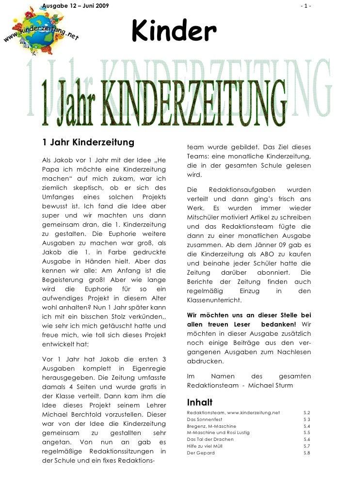 Ausgabe 12 – Juni 2009                                                             -1-                                Kind...