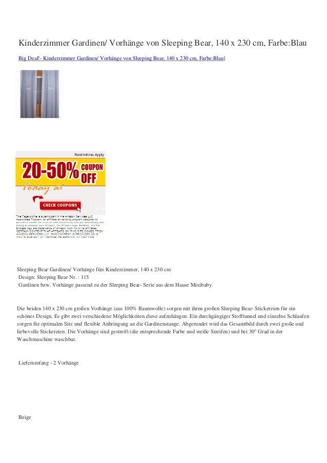 Kinderzimmer Gardinen/ Vorhänge von Sleeping Bear, 140 x 230 cm, Farbe:BlauBig Deal!- Kinderzimmer Gardinen/ Vorhänge von ...