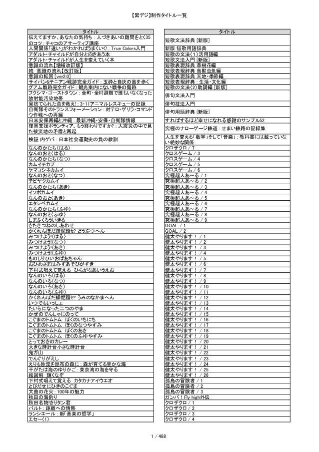 経産省緊急デジタル化事業制作タイトルリスト