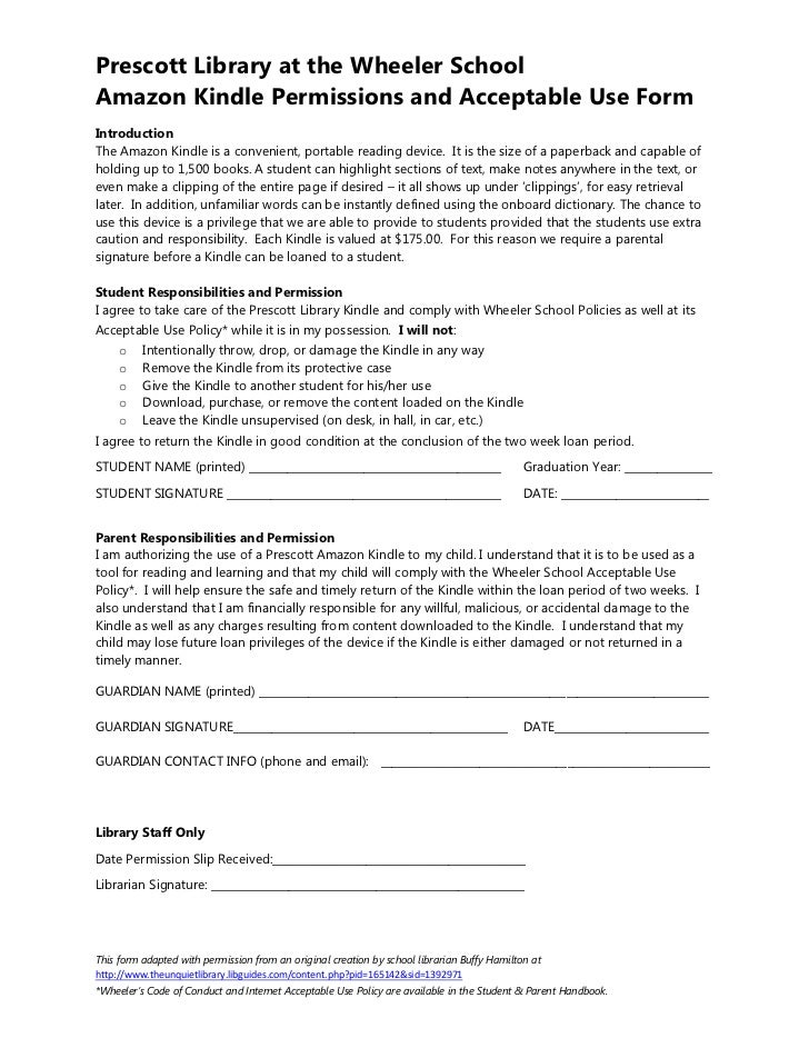 Kindle Consent Form. Prescott Library At The Wheeler SchoolAmazon Kindle  Permissions And Acceptable Use FormIntroductionThe Amazon Kindle Is A