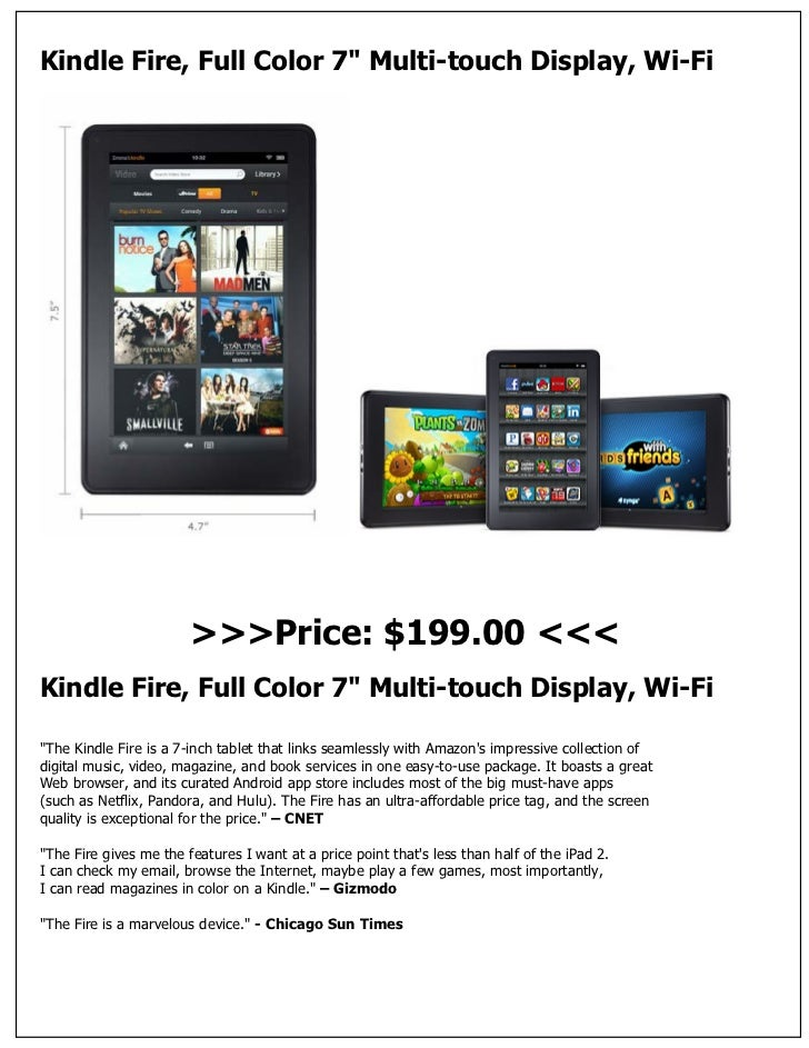 "Kindle Fire, Full Color 7"" Multi-touch Display, Wi-Fi                        >>>Price: $199.00 <<<Kindle Fire, Full Color ..."