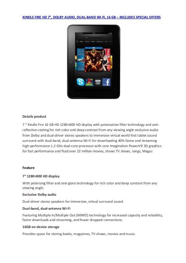KINDLEFIREHD7″,DOLBYAUDIO,DUAL‐BANDWI‐FI,16GB–INCLUDESSPECIALOFFERS                                         ...