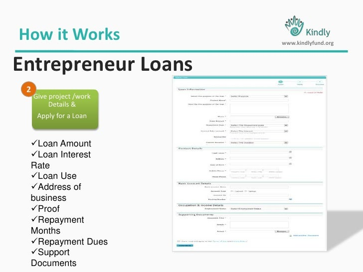 Official Processing Charges 2.0 %</li></ul>Entrepreneur Loans<br /><ul><li>For all Registered NGO & Trusts