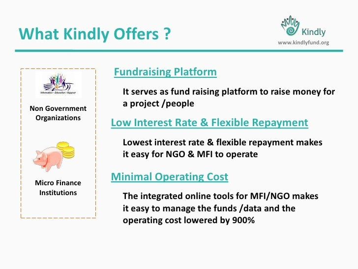 What Kindly Offers ?<br />www.kindlyfund.org<br />Fundraising Platform<br />It serves as fund raising platform to raise mo...