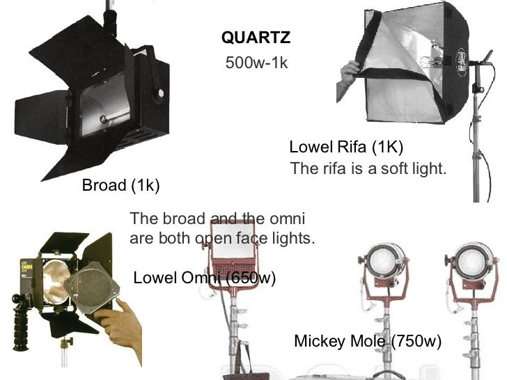QUARTZ 500w-1k Broad (1k) Mickey Mole (750w) Lowel Omni (650w) The broad and the omni are both open face lights. Lowel Rif...