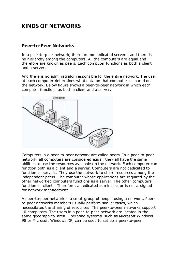 KINDS OF NETWORKSPeer-to-Peer NetworksIn a peer-to-peer network, there are no dedicated servers, and there isno hierarchy ...