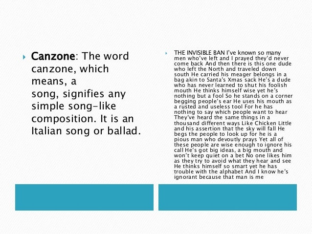 how to write a canzone poem