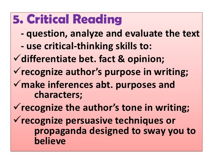 Critical Thinking Skills Necessary in Writing