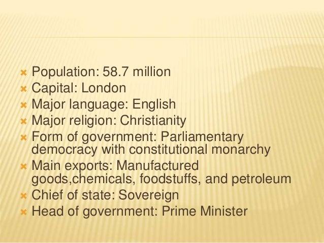  Population: 58.7 million  Capital: London  Major language: English  Major religion: Christianity  Form of government...