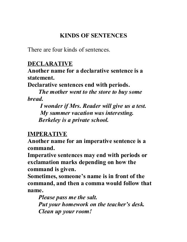 kinds of sentences definitions. Black Bedroom Furniture Sets. Home Design Ideas