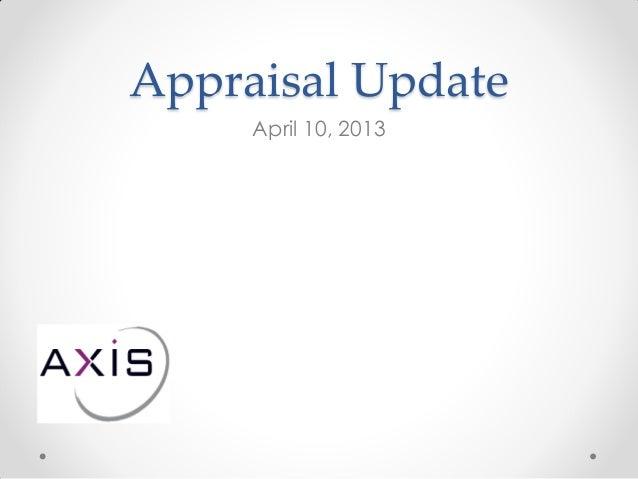Appraisal Update April 10, 2013