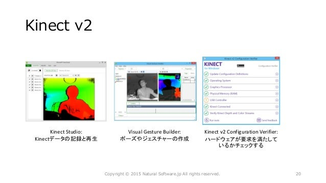 Kinect v2 Kinect Studio: Kinectデータの記録と再生 Visual Gesture Builder: ポーズやジェスチャーの作成 Copyright © 2015 Natural Software.jp All ri...