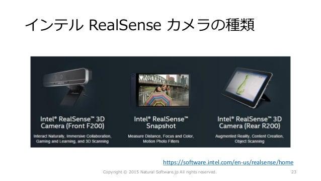 インテル RealSense カメラの種類 Copyright © 2015 Natural Software.jp All rights reserved. https://software.intel.com/en-us/realsense...