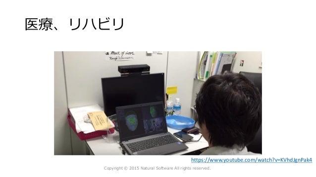 医療、リハビリ Copyright © 2015 Natural Software All rights reserved. https://www.youtube.com/watch?v=KVhdJgnPak4