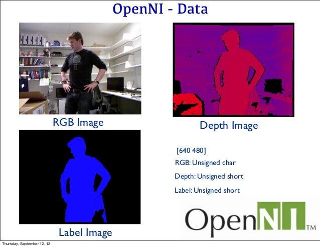 OpenNI - Data RGB Image Depth Image Label Image [640 480] Depth: Unsigned short Label: Unsigned short RGB: Unsigned char T...