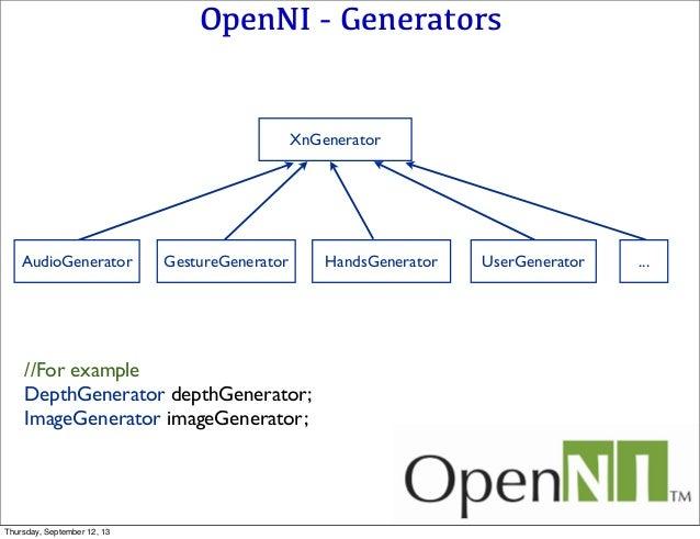 OpenNI - Generators XnGenerator AudioGenerator GestureGenerator HandsGenerator UserGenerator ... //For example DepthGenera...