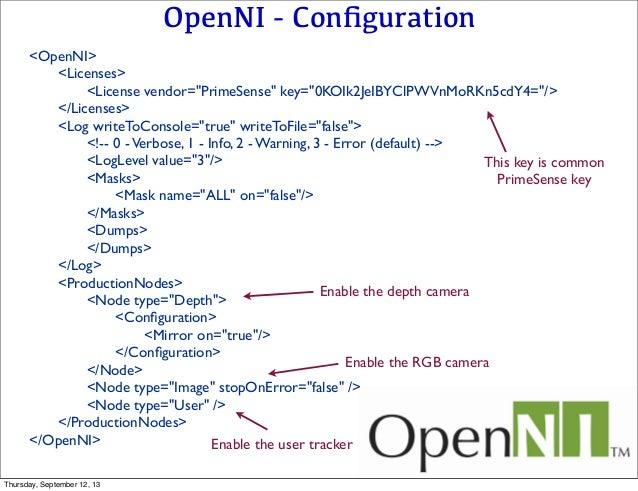 "OpenNI - Configuration <OpenNI>    <Licenses>       <License vendor=""PrimeSense"" key=""0KOIk2JeIBYClPWVnMoRKn5cdY4=""/>  ..."