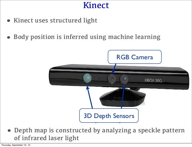 Kinect RGB Camera 3D Depth Sensors •Depth map is constructed by analyzing a speckle pattern of infrared laser light •Body ...