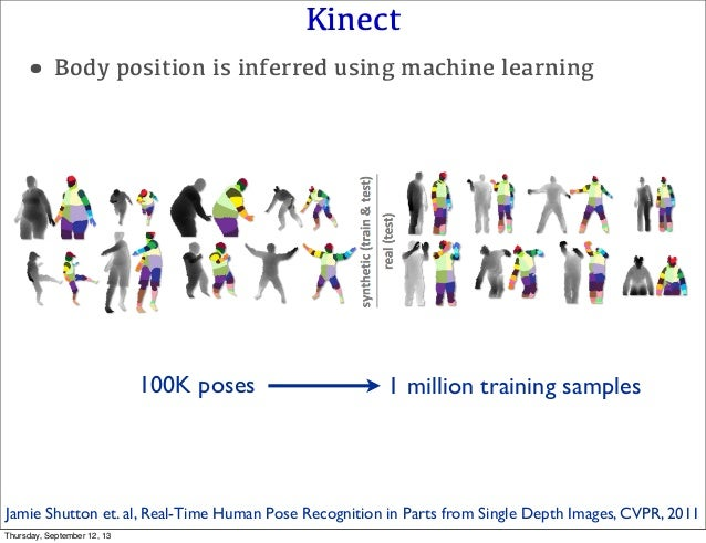 Kinect •Body position is inferred using machine learning 100K poses 1 million training samples Jamie Shutton et. al, Real-...