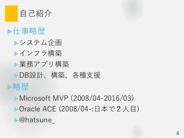 自己紹介 仕事略歴 システム企画 インフラ構築 業務アプリ構築 DB設計、構築、各種支援 略歴 Microsoft MVP (2008/04-2016/03) Oracle ACE (2008/04-:日本で2人目) @hat...