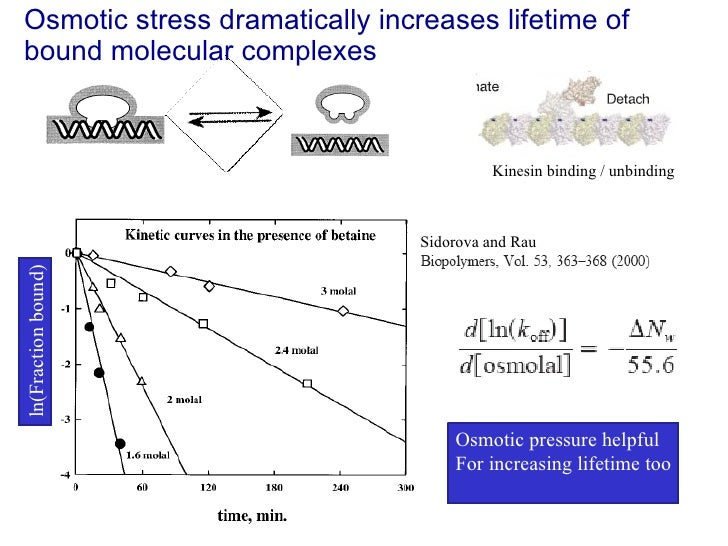 Osmotic stress dramatically increases lifetime of bound molecular complexes Osmotic pressure helpful For increasing lifeti...