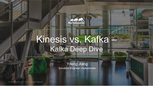 Kinesis vs. Kafka – Kafka Deep Dive Yifeng Jiang Solutions Engineer, Hortonworks © Hortonworks Inc. 2011 – 2015. All Right...