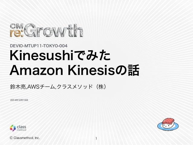 Ⓒ Classmethod, Inc. Kinesushiでみた Amazon Kinesisの話 1 DEVIO-MTUP11-TOKYO-004 鈴木亮,AWSチーム,クラスメソッド(株) 2014年12月16日