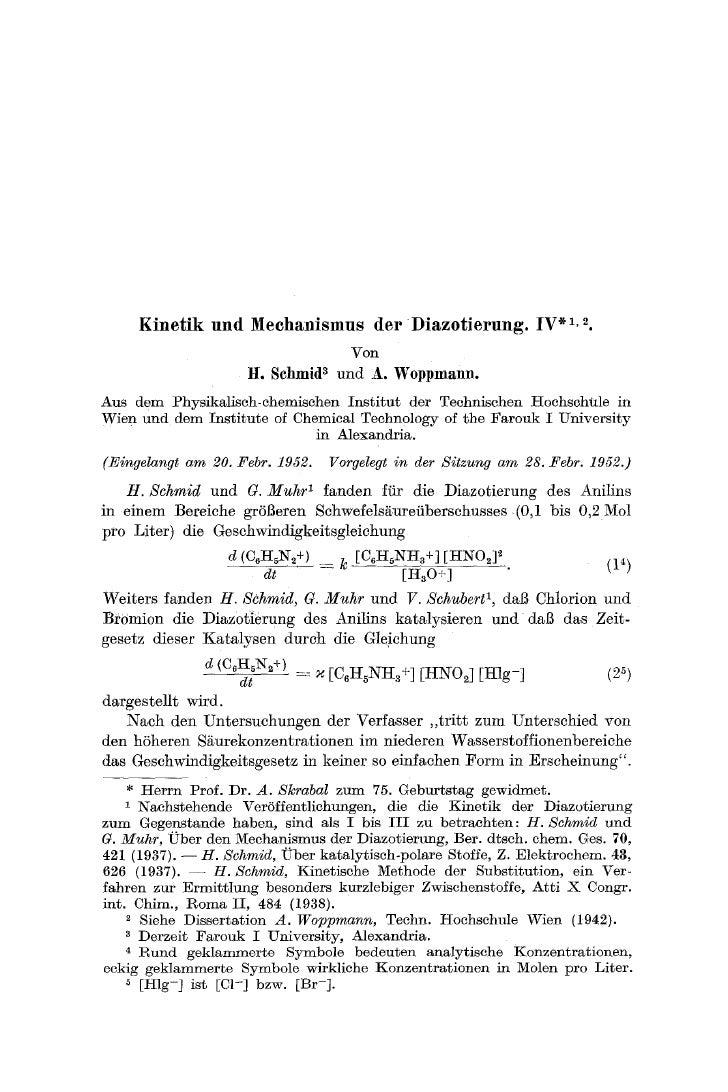 K i n e t i k und Meehanismus der D i a z o t i e r u n g . IV * 1, 3.                                             Von    ...