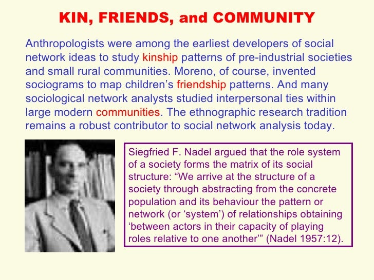 KIN, FRIENDS, and COMMUNITY Anthropologists were among the earliest developers of social network ideas to study  kinship  ...