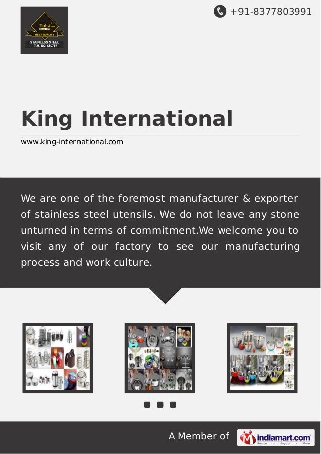 +91-8377803991  King International www.king-international.com  We are one of the foremost manufacturer & exporter of stain...