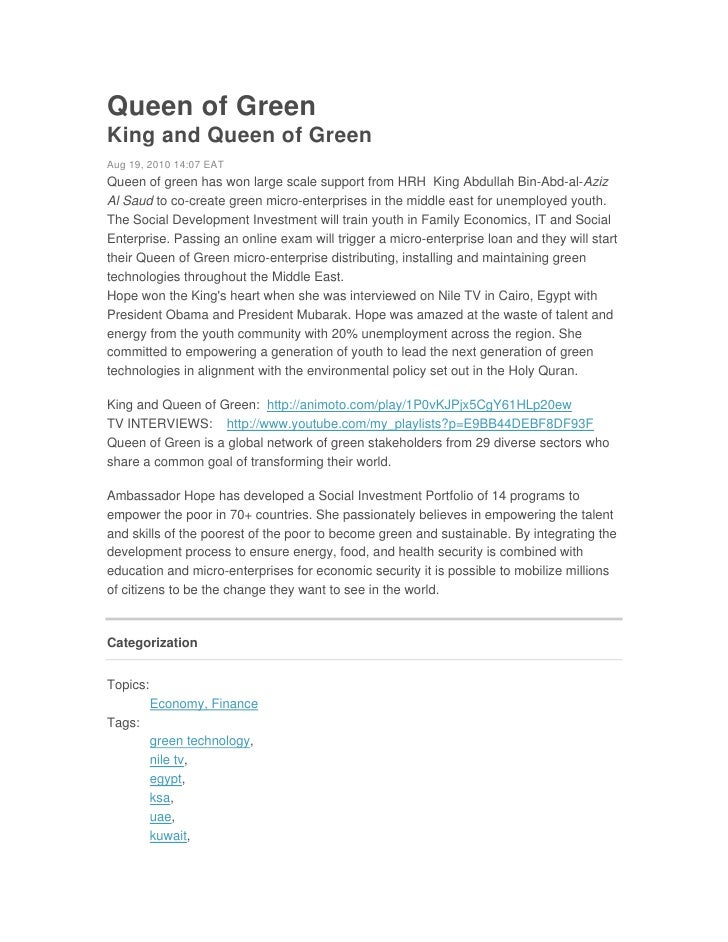 Queen of GreenKing and Queen of GreenAug 19, 2010 14:07 EATQueen of green has won large scale support from HRH King Abdull...