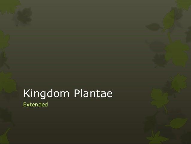 Kingdom Plantae Extended