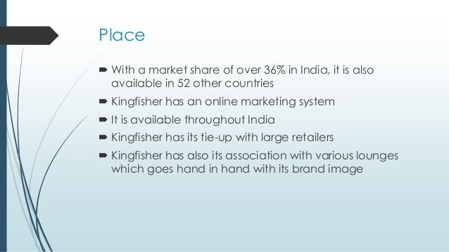 marketing mix of kingfisher airlines The marketing mix of kingfisher airlines discusses the 7p's of kingfisher which  has helped kingfisher exist in the airlines industry it operates.