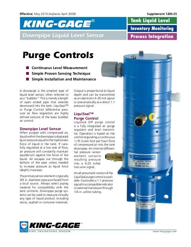 Page 1 Purge Controls  ■  Continuous Level Measurement  ■  Simple Proven Sensing Technique  ■  Simple Installation ...