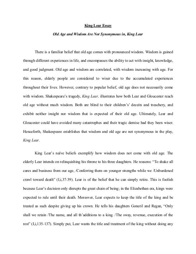 how tragic is king lear essay The theme of blindness in shakespeare king lear and sophocles theme of blindness in king lear english literature essay print trigger the tragic events that.