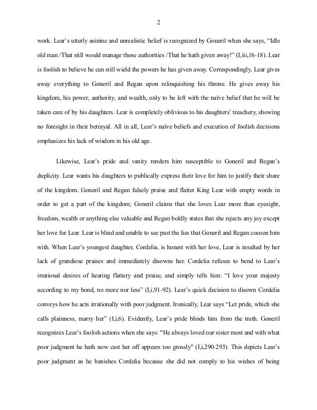 Research Essay Proposal Example King Lear Essay Old Age And Wisdom Are Not Synonymous  Compare And Contrast Essay Examples High School also Argumentative Essay Thesis Statement King Lear Essay  Romefontanacountryinncom Compare And Contrast Essay Topics For High School