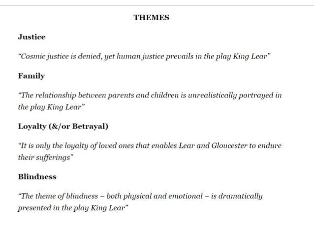 essay on king lear themes