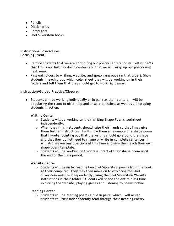 Poetry Centers Lesson Plan – 5th Grade Poetry Worksheets