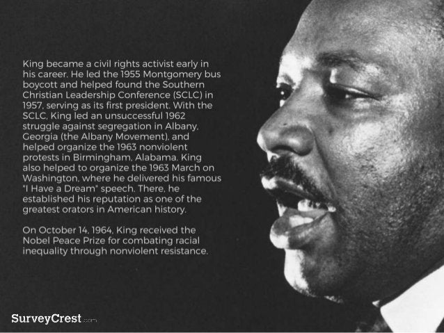 King became a civil rights activist early in h is career. He led the 1955 Montgomery bus boycott and helped found the Sout...